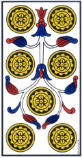 Sept de Deniers renversé Tarot de Marseille interprétation